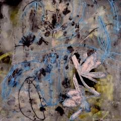 Claffey, Debra_Pink Petal_oil, encaustic, monotype collage on panel_16 x 16_2020_ 202073