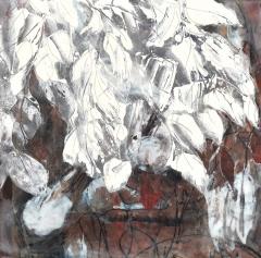 Claffey-Debra_White-on-Maroon_oil-encaustic-monotype-collage-on-panel_16-x-16_2020_-202078