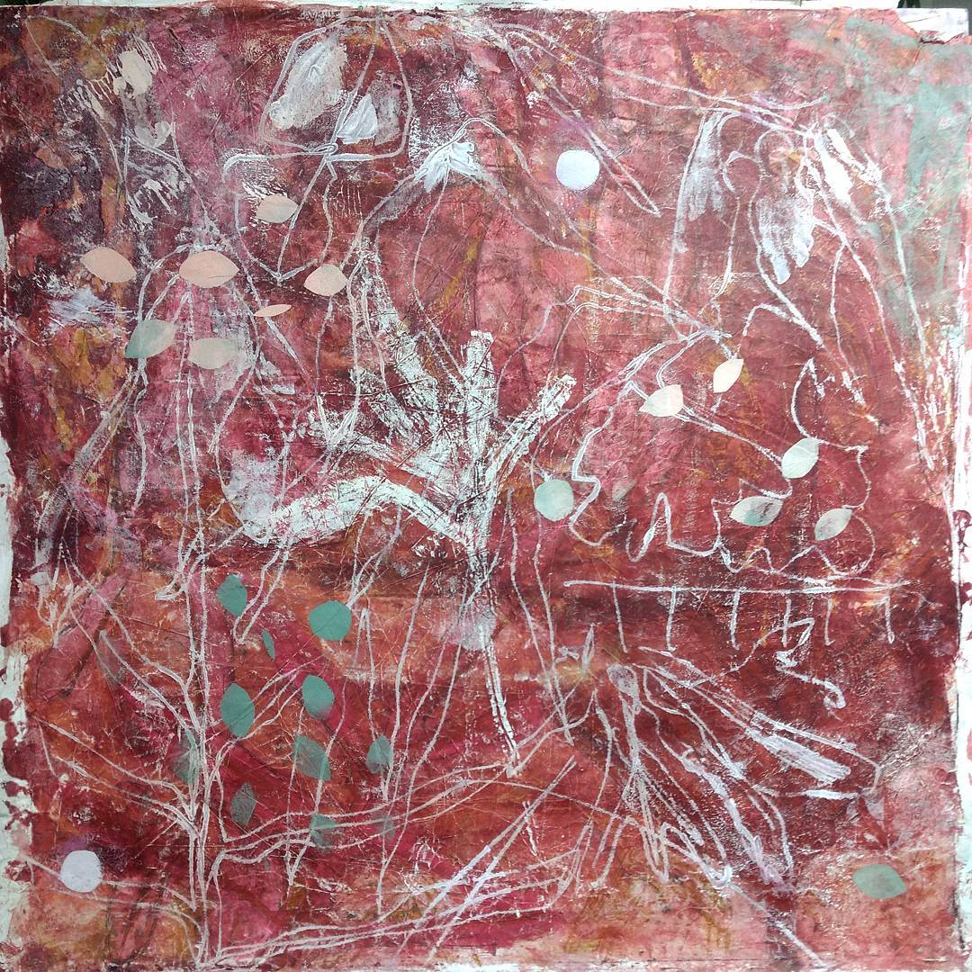 Painting, drawing, and transfer over a monotype on rice paper, about 36 x 36″