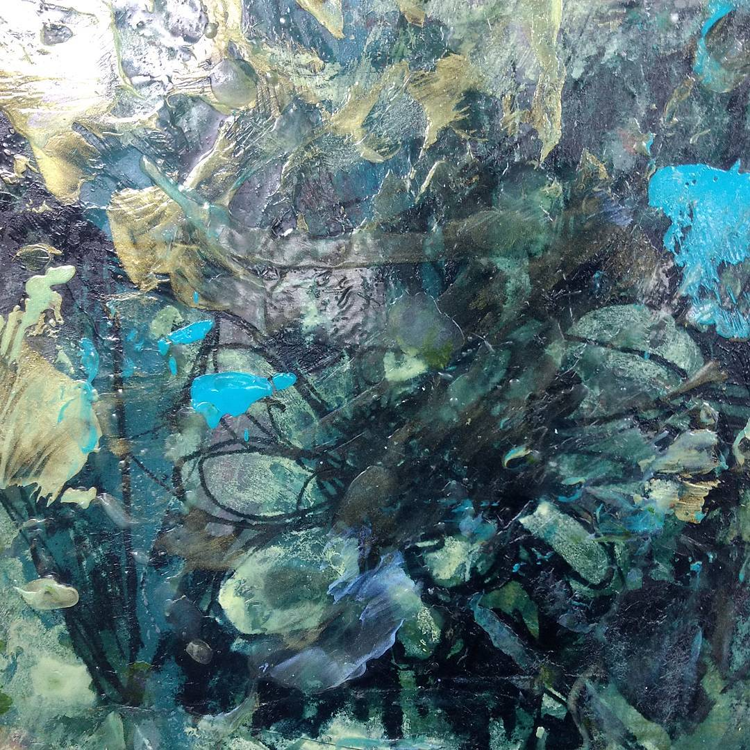 """of surface and duotone Encaustic on """"Cool, Clear Water"""