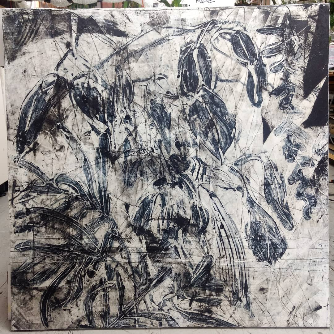 Selected by juror Judith Brodsky for the Fifth National Monotype/Monoprint Juried Exhibition, at The Art Complex Museum: May 6 – September 2, 2018. Indigo and Ice, No. 6 on paper on panel. 36″x36