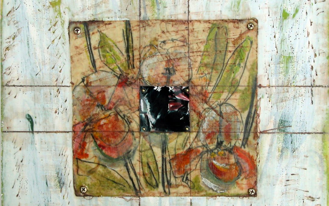 Claffey, Debra, What We Ask 2, ©2008, encaustic, graphite, paper, photo,brass, 12 x 12 inches