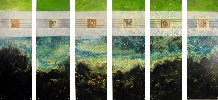 "Claffey, Debra_Sea and Sky_oil, encaustic, transfer on panel_6-48"" x 16""_2010_ 201027"