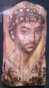 Mummy Portrait of a Man, Roman Period, (2nd century A.D.) Wood, wax, pigment and gold