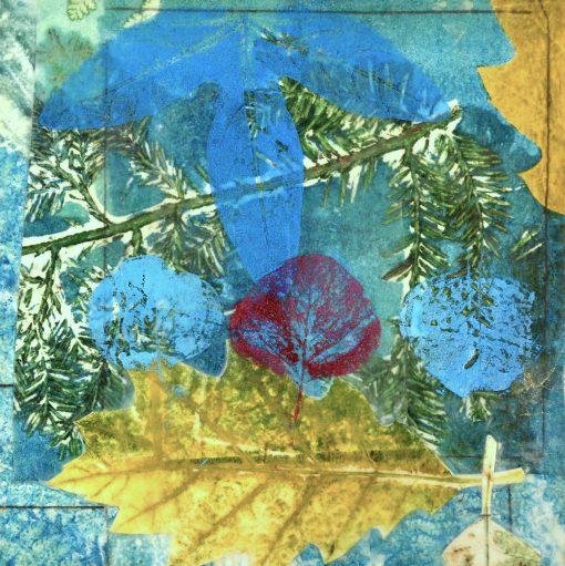 "Oak Leaf Variation, oil monotype, pigment stick, on paper on panel, 8"" x 8"", 201699.02"