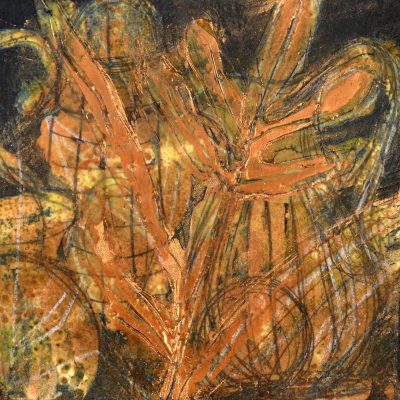"Bronze leaves study, encaustic, pigment stick, graphite on paper, 8"" x 8"", 201699.15"