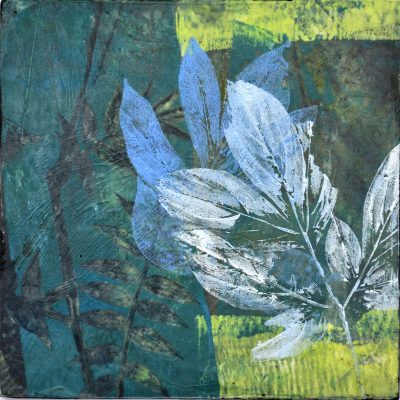 Vetch and Peony, 2020, encaustic, oil/wax, monotype on panel, 8 x 8 inches, 202036