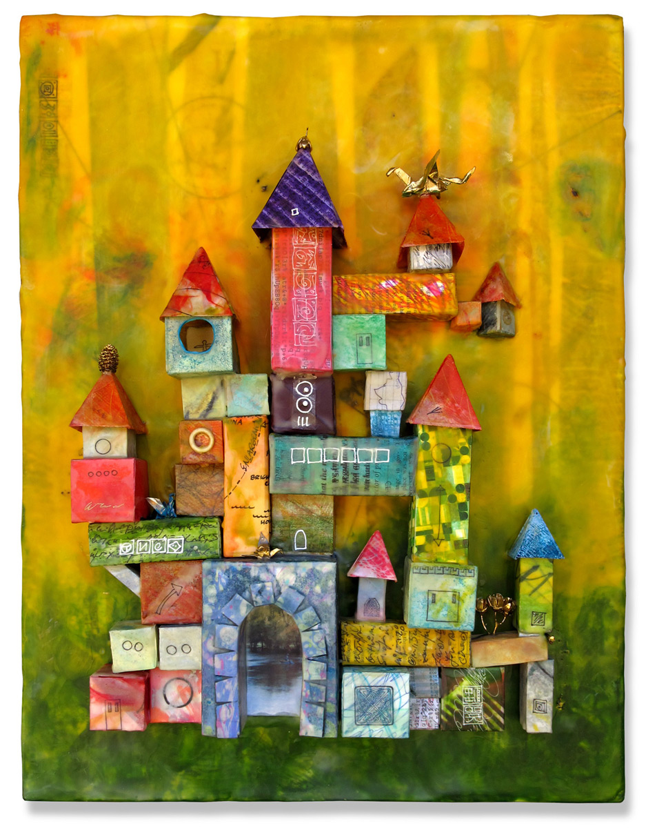 Jeanne Borofsky, Castle in the Green Woods, Encaustic and origami on panel, 20 x 15 x 4 inches