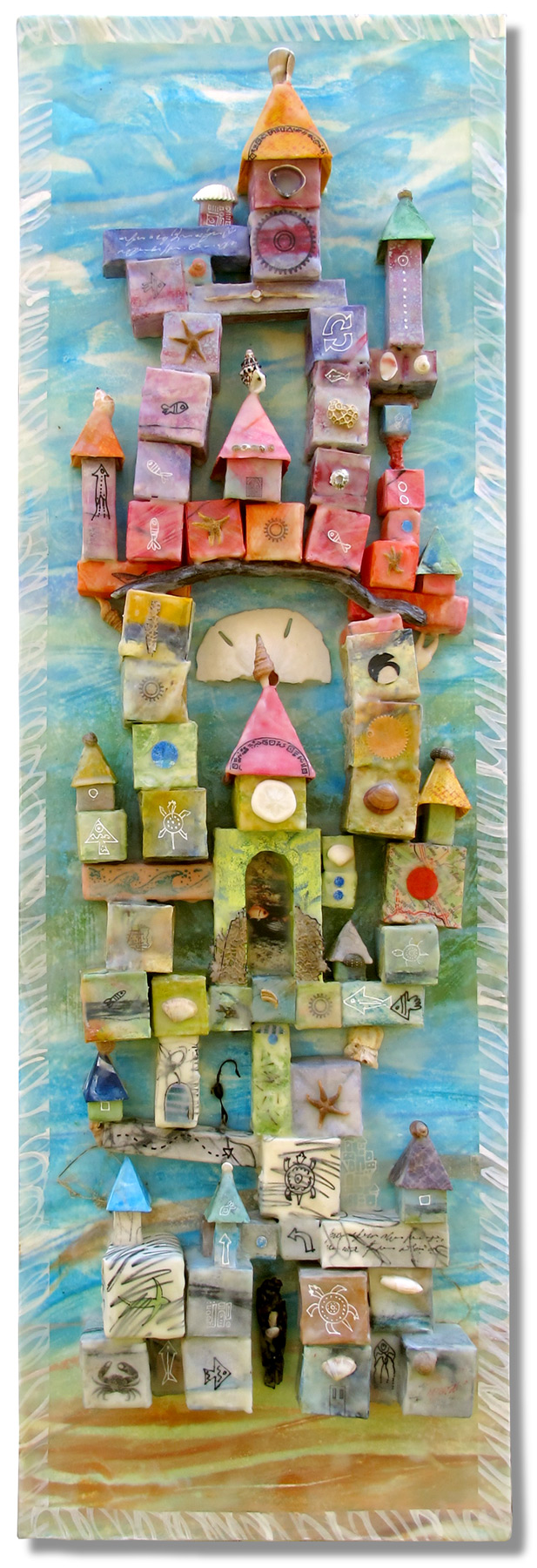 Jeanne Borofsky Sand Castle, Encaustic and origami on panel , 20 x 15 x 4 inches