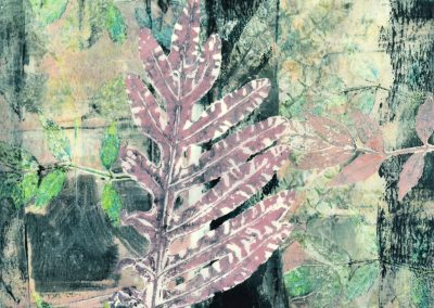 Claffey, Debra_Leaves with Black Stripe II_encaustic, monotype on paper_12 x 12_2020_ 202013