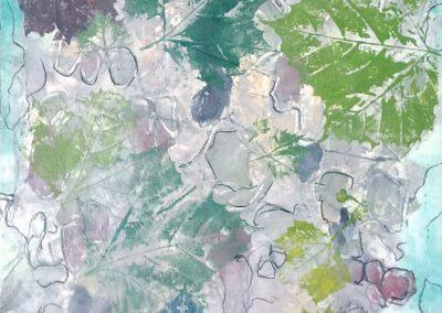 Claffey, Debra_Sycamore!, Water-based ink monotype, encaustic on panel_56 x 20_2019_ 201943