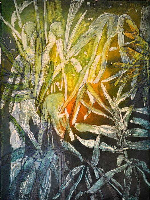 "Foliage Rising, 2017, encaustic, pigment stick, oil, graphite on Fabriano paper, 30"" x 22"" inches"