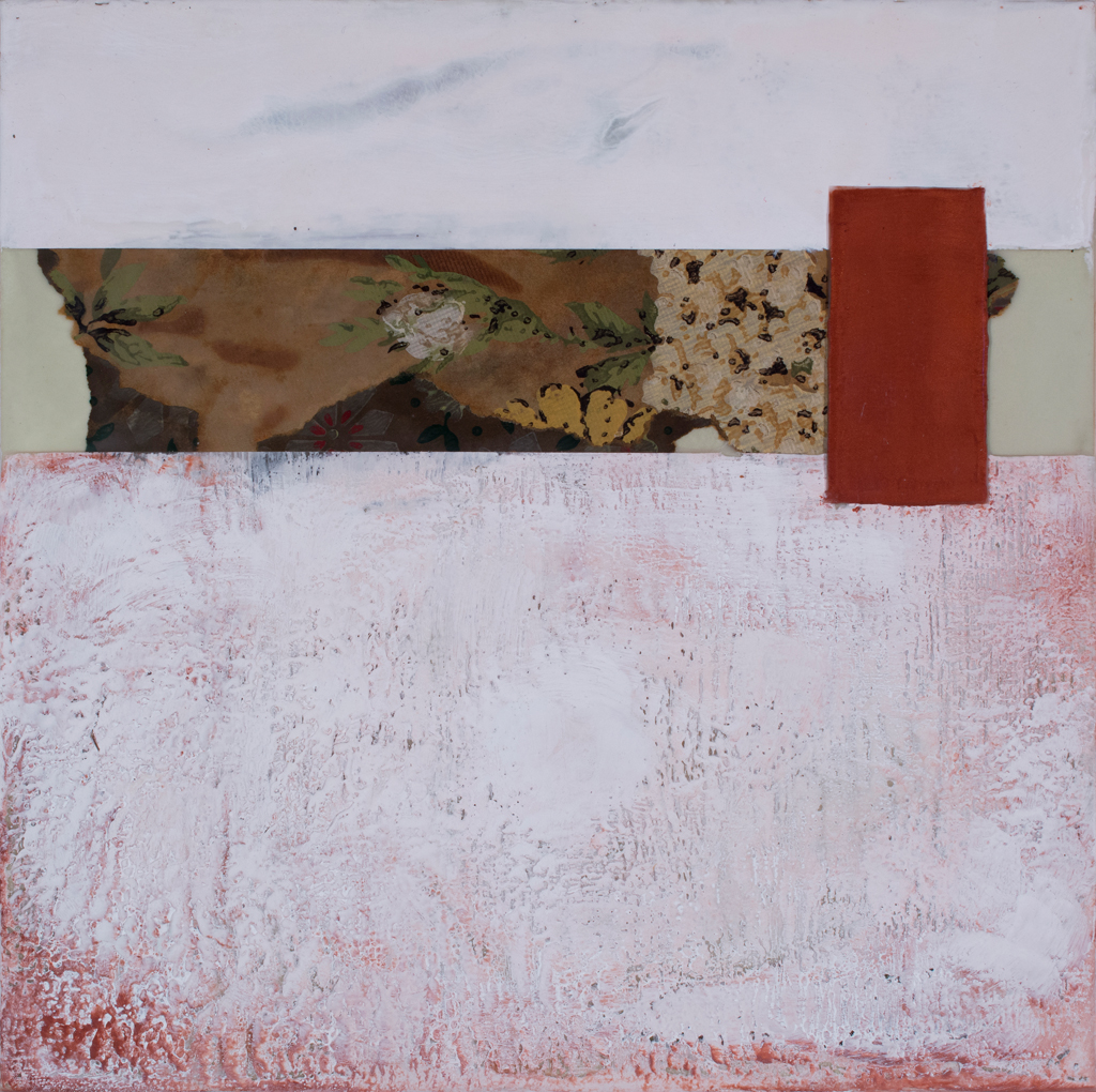 Kimberly Curry, RIght on the Edge of Possible, encaustic and mixed media, 12 x 12 inches