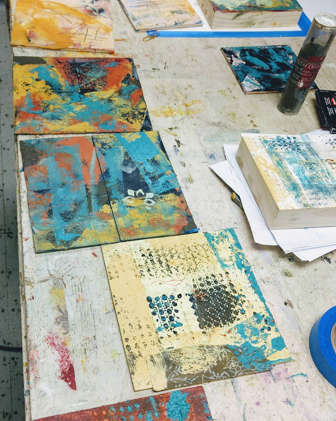 Great fun leading cold wax painting workshop today