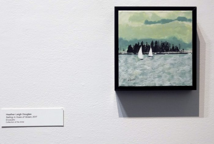 """Heather Douglas, Sailing in Hues of Green, 8"""" x 8"""", 2017"""