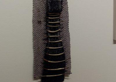 Bayda Asbridge, Secret Message II, Saori weaving, spool, chain, bowl, metal balls, seaweeds wrapped in threads