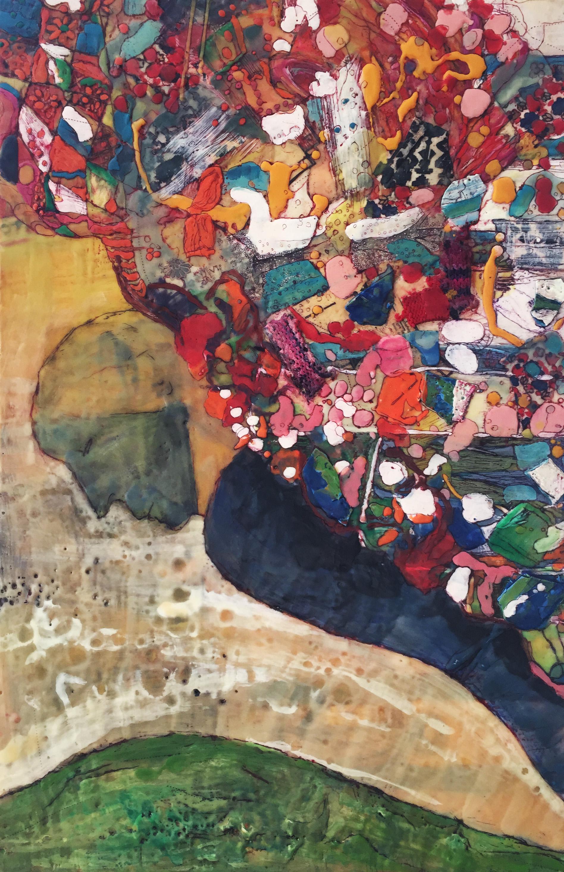 Hélène Farrar, What We Carry: The Balance, encaustic on panel, 30 x 22 inches