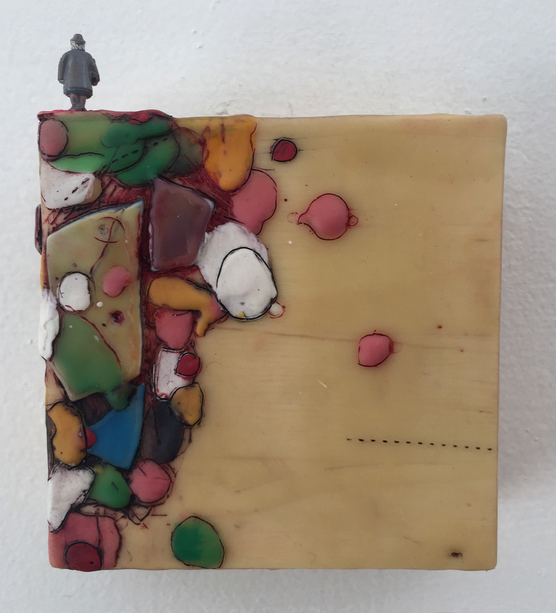 Hélène Farrar, What We Carry: Later On, encaustic and painted small person model, 4 x 4 inches