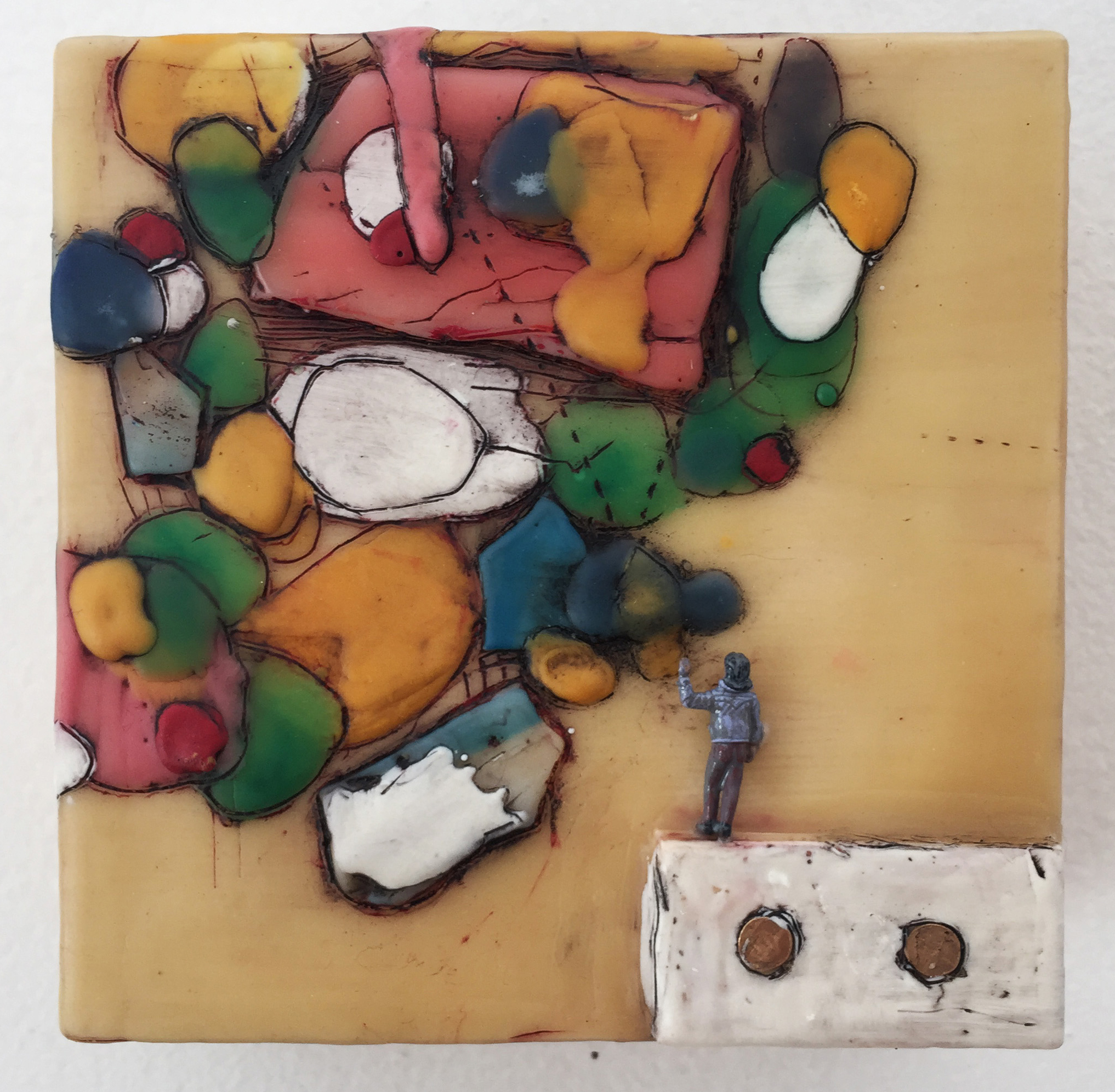 Hélène Farrar, What We Carry: Middle Age, encaustic and painted small person model, 4 x 4 inches