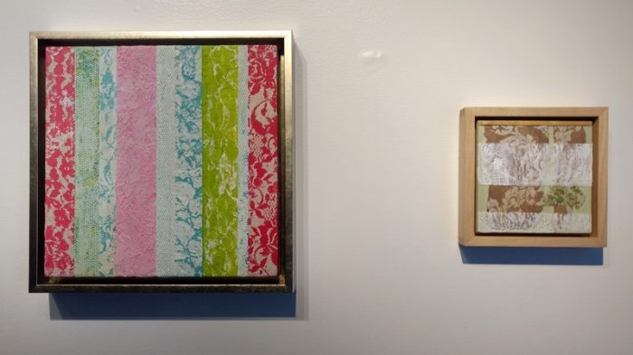 """Jeanne Griffin, In the Beginning, 12"""" x 12"""", 2016 and Kimberly Curry, Normalcy Of Beauty, 6"""" x 6"""", 2015"""