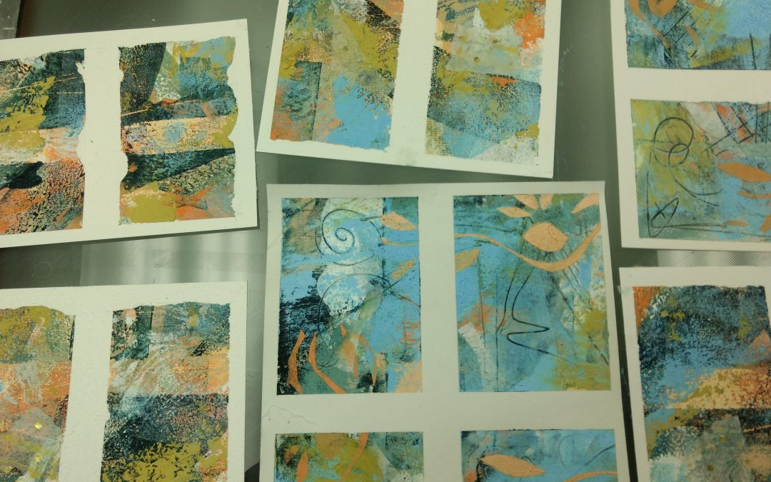 Cold wax painting samples