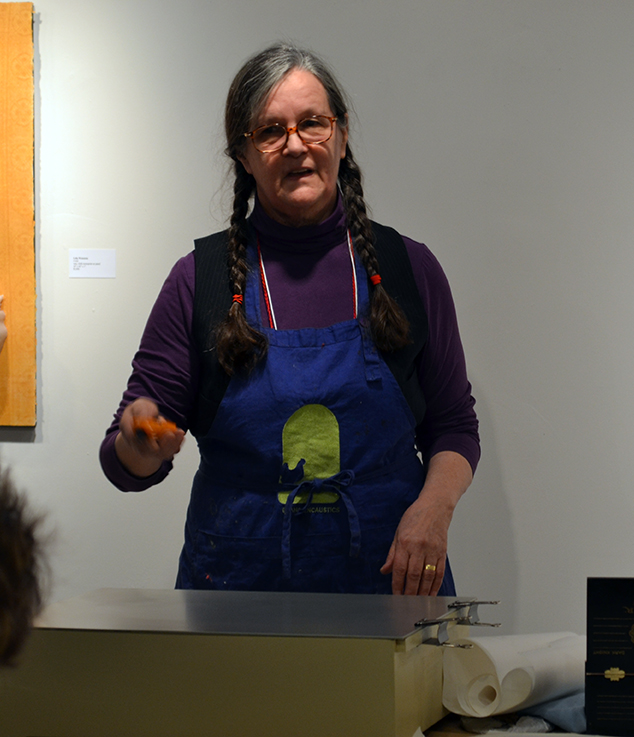 Jeanne Borofsky demonstrating encaustic monotype on the HotBox