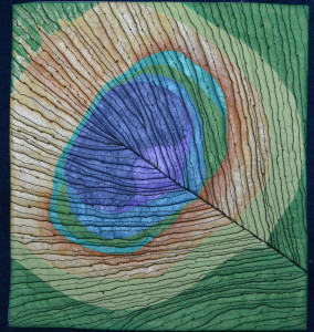 """Jodi Scaltreto, """"Feather"""", approx. 12 x 12 inches, painted cloth and stitching"""