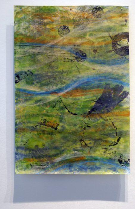 "Donna Hamil Talman, Seducing Ourselves, encaustic monotype, ink, pencil, oil pastels on Kitakita paper, 33"" x 22"", 2015"