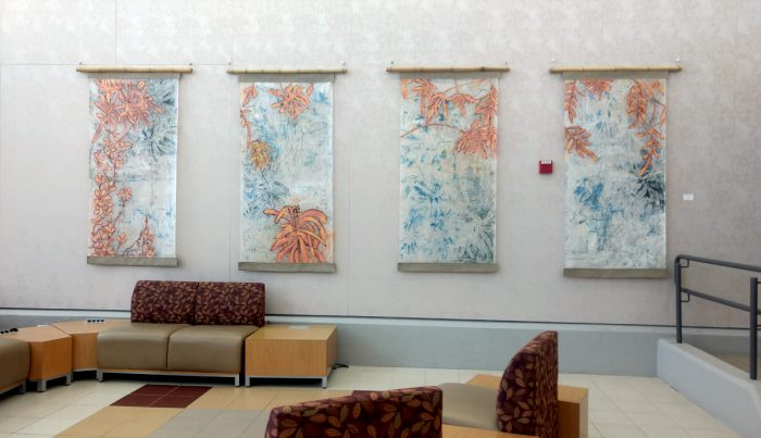 Through To Sunday Afternoons, 2019, oil and wax over oil monotype on sumi paper, 72 x 144 inches (4 panels)