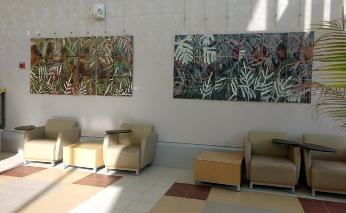 Turners I and Turners II_oil monotype, encaustic, oil, graphite on Rives BFK_ each 48 x 96 on 18 panels