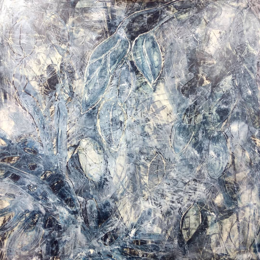 "After months of being ""finished"", it needed adjusting. Carved new contours into the wax collage. 36 x 36 inches, Indigo Ice #5."