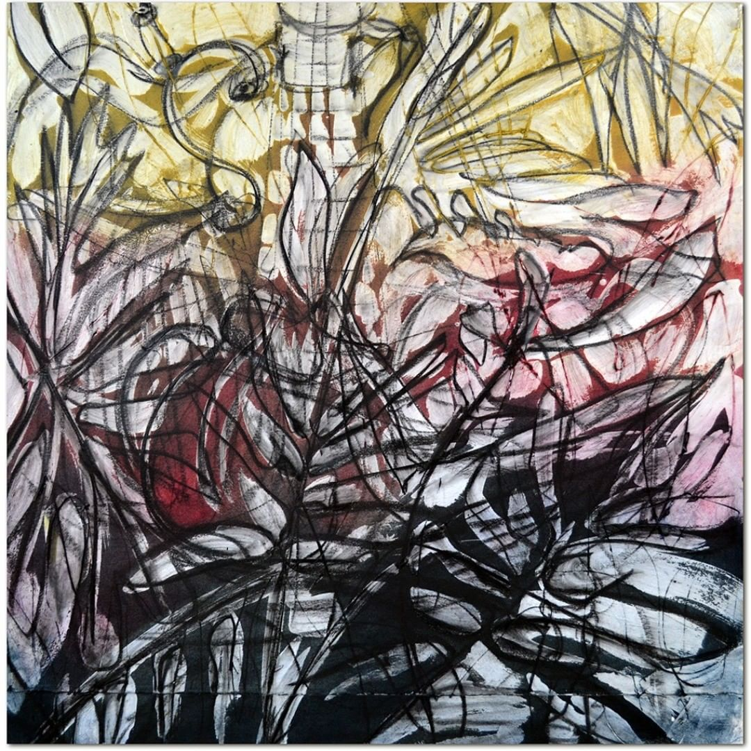 ask for this one at the Museum School for its Annual Sale. Through the Light I Hear, No. 19, 2018, encaustic, oil and wax paint, graphite on Rives BFK on panel, 24 x 24 inches