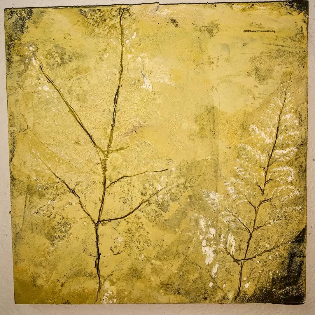 on panel, 10 x 10, with rabbit foot fern impressions