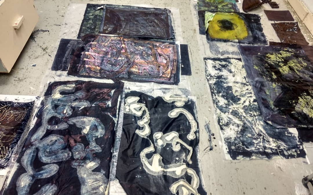 Playing with a vat of indigo dye, old prints, encaustic. Ran out of floor space.