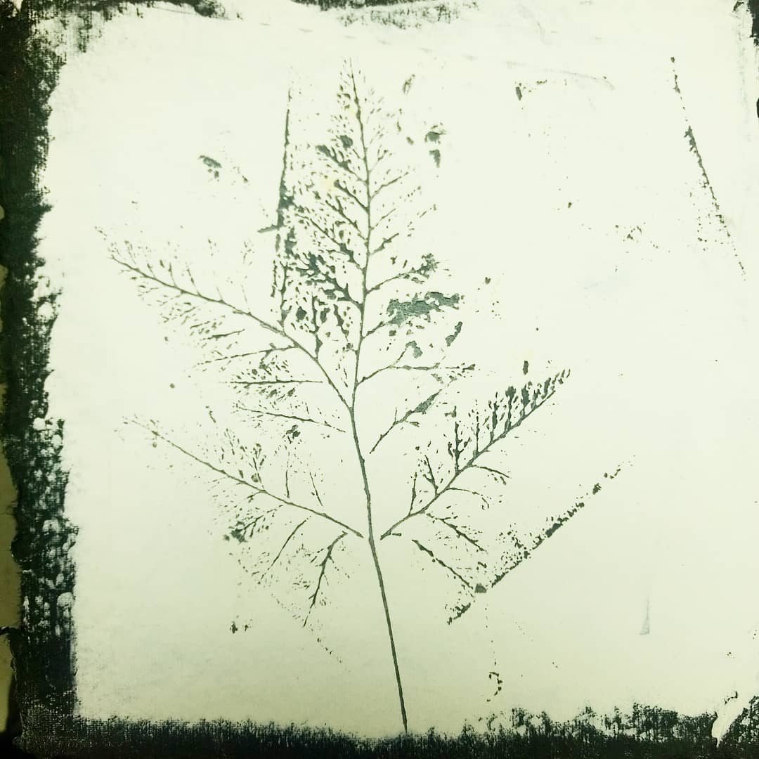 wax paint on paper impression